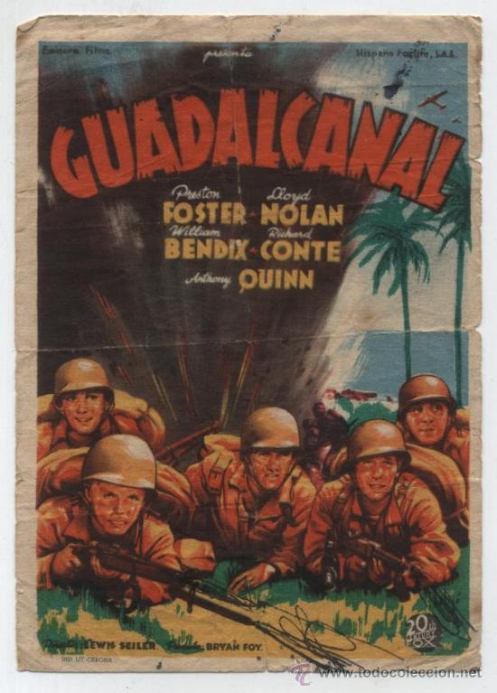 GUADALCANAL.SOLIGÓ. SENCILLO DE 20TH CENTURY FOX. (Cine - Folletos de Mano - Bélicas)