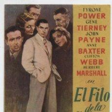 Cine: EL FILO DE LA NAVAJA. SENCILLO DE 20TH CENTURY FOX.. Lote 22070201
