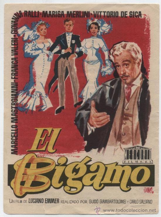 EL BÍGAMO. SENCILLO DE MERCURIO. CINE LLAGOSTERENSE 1957. (Cine - Folletos de Mano - Comedia)