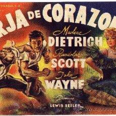 Cine: PROGRAMA CINE - FORJA DE CORAZONES MARLENE DIETRICH - RANDOLPH SCOTT - JOHN WAYNE - TEATRO APOLO . Lote 27522769