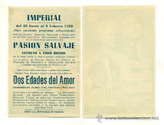 Cine: DOS EDADES DEL AMOR Y EL ETERNO CONFLICTO - PROGRAMA ORIGINAL CON Y SIN PUBLICIDAD - IMPECABLE - Foto 2 - 26110895