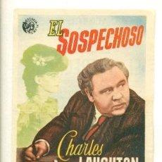 Cine: SOSPECHOSO - CHARLES LAUGHTON - PROGRAMA ORIGINAL CON PUBLICIDAD - BE. Lote 26182186