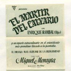 Cine - MARTIR DEL CALVARIO - PROGRAMA ORIGINAL CON PUBLICIDAD - IMPECABLE - DESPLEGABLE - 26226758