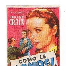 Cine: COMO LE CONOCÍ. SOLIGO. SENCILLO DE 20TH CENTURY FOX. CINE ALAMEDA - MÁLAGA.. Lote 22706444