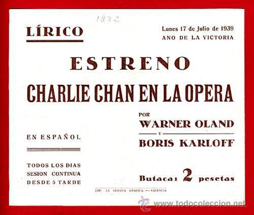 Cine: CHARLIE CHAN EN LA OPERA , BORIS KARLOFF , DOBLE , S1832 - Foto 2 - 22706135