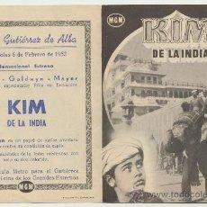 Cine: KIM DE LA INDIA. DOBLE DE MGM. SALÓN GUTIERREZ DE ALBA - ALCALÁ DE GUADAIRA 1952.. Lote 22762956
