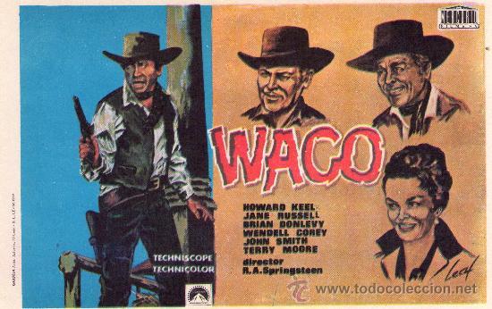 554- FOLLETO DE MANO: WACO (Cine - Folletos de Mano - Westerns)