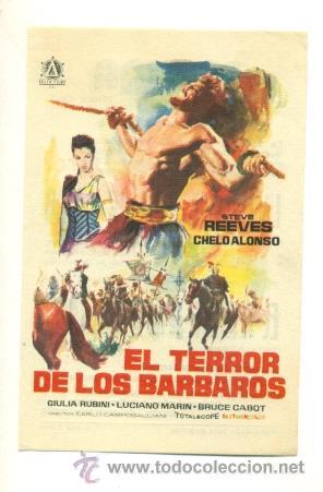 TERROR DE LOS BARBAROS - PROGRAMA ORIGINAL CON PUBLICIDAD - IMPECABLE (Cine - Folletos de Mano - Terror)