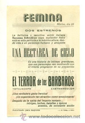 Cine: TERROR DE LOS BARBAROS - PROGRAMA ORIGINAL CON PUBLICIDAD - IMPECABLE - Foto 2 - 26625917