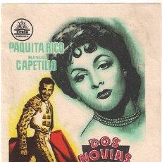 Cine: DOS NOVIAS PARA UN TORERO PROGRAMA SENCILLO RARO CIFESA CINE ESPAÑOL PAQUITA RICO TOROS. Lote 22868078