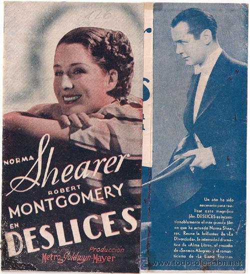 DESLICES PROGRAMA DOBLE MGM NORMA SHEARER ROBERT MONTGOMERY HERBERT MARSHALL AZUL (Cine - Folletos de Mano - Drama)