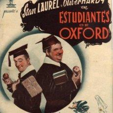 Cine: PROGRAMA CINE DOBLE - ESTUDIANTES DE OXFORD - STAN LAUREL Y OLIVER HARDY. Lote 120054220