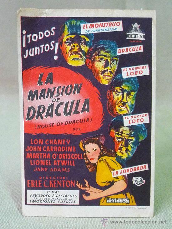 PROGRAMA DE CINE, LA MANSION DE DRACULA, LON CHANEY, SIN PUBLICIDAD (Cine - Folletos de Mano - Terror)