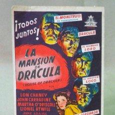 Cine: PROGRAMA DE CINE, LA MANSION DE DRACULA, LON CHANEY, SIN PUBLICIDAD. Lote 22927876