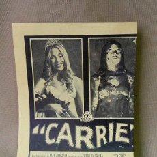 Cine: PROGRAMA DE CINE, CARRIE, 1977. Lote 22998582
