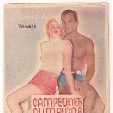 Cine: CAMPEONES OLIMPICOS PROGRAMA TARJETA PARAMOUNT IDA LUPINO BUSTER CRABBE. Lote 22998379