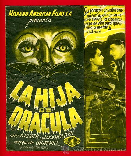 LA HIJA DE DRACULA, ORIGINAL , DOBLE , VER FOTOS ADICIONALES , S1838 (Cine - Folletos de Mano - Terror)