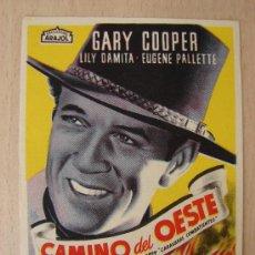 Cine: PROGRAMA DE CINE ANTIGUO. CAMINO DEL OESTE. GARY COOPER. Lote 26237838