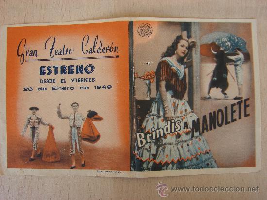 PROGRAMA DE CUNE ANTIGUO. BRINDIS A MANOLETE. 1949 (Cine - Folletos de Mano)