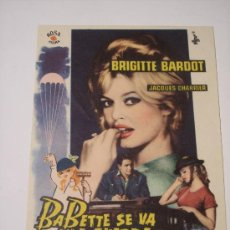 Cine: BABETTE SE VA A LA GUERRA (BRIGITTE BARDOT / JACQUES CHARRIER). Lote 23593859