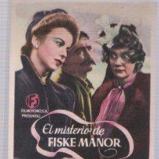 Cine: EL MISTERIO DE FISKE MANOR. SENCILLO DE FILMÓFONO. CINE GOYA.. Lote 23802967