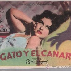 Cine: EL GATO Y EL CANARIO. SENCILLO DE MERCURIO.AL DORSO: CHAVES Y GARCÍA.TEJIDOS. IMAGEN,18.SEVILLA.. Lote 23843351