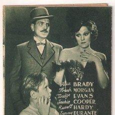 Cine: BROADWAY Y HOLLYWOOD PROGRAMA DOBLE MGM VERDE ALICE BRADY MADGE EVANS JACKIE COOPER ROONEY MORGAN. Lote 24499525