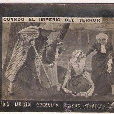 Folhetos de mão de filmes antigos de cinema: CUANDO EL IMPERIO DEL TERROR PROGRAMA SENCILLO CINE MUDO 1910'S. Lote 24564455