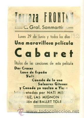 Cine: CABARET , CON FERNANDO REY Y NATY MISTRAL - PROGRAMA ORIGINAL CON PUBLICIDAD - Foto 2 - 26625924