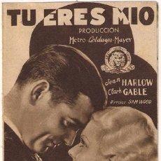 Cine: TU ERES MIO PROGRAMA DOBLE MARRON MGM JEAN HARLOW CLARK GABLE. Lote 24615028