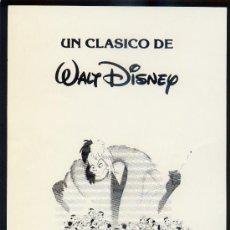 Cine: 101 DALMATAS (FOLLETO DE MANO ORIGINAL WALT DISNEY). Lote 24732782