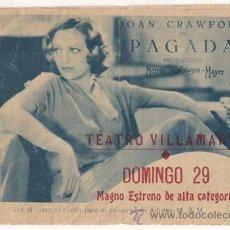 Cine: PAGADA PROGRAMA DOBLE MGM JOAN CRAWFORD ROBERT ARMSTRONG POLLY MORAN. Lote 24794717