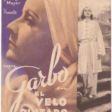 Cine: EL VELO PINTADO PROGRAMA DOBLE MGM GRETA GARBO HERBERT MARSHALL GEORGE BRENT WARNER OLAND. Lote 24819942