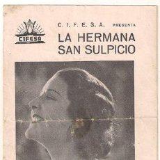 Cine: PR3 LA HERMANA SAN SULPICIO PROGRAMA DOBLE CANCIONERO CIFESA CINE ESPAÑOL IMPERIO ARGENTINA A. Lote 24823063