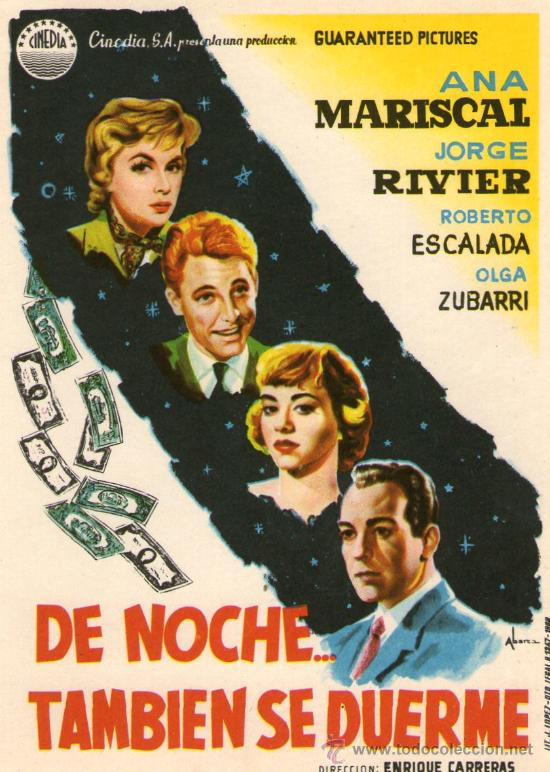 DE NOCHE TAMBIEN SE DUERME - CINEDIA - ANA MARISCAL, JORGE RIVIER - PROGRAMA CINE ORIGINAL (Cine - Folletos de Mano - Comedia)
