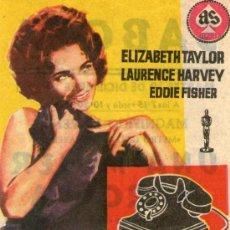 Cine: UNA MUJER MARCADA - AS FILMS - ELIZABETH TAYLOR - PROGRAMA CINE ORIGINAL SABOYA CASTELLON. Lote 26450093
