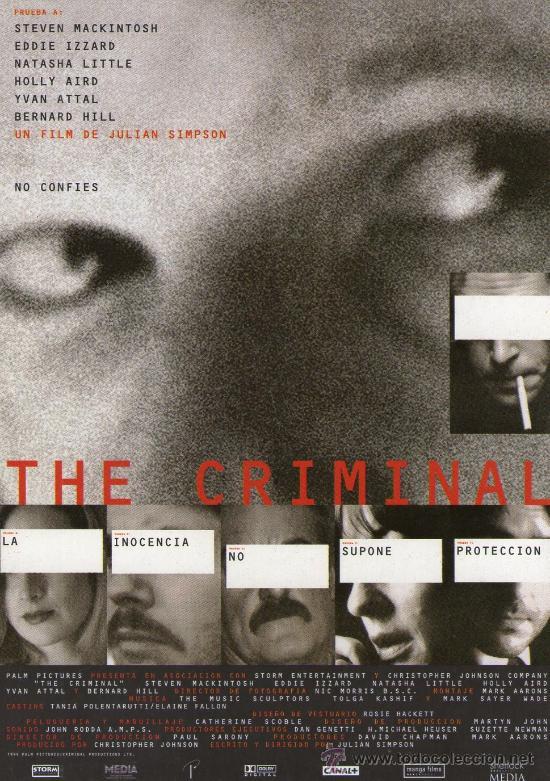 THE CRIMINAL - STEVEN MACKINTOSH - PROGRAMA DE MAN0 CINE POSTAL (Cine - Folletos de Mano - Suspense)