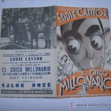 Cine: PROGRAMA CINE ORIGINAL DOBLE. PELÍCULA EL CHICO MILLONARIO. EDDIE CANTOR.PUBLICIDAD SALÓN DORE.. Lote 25286367