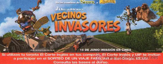 952- FOLLETO DEL FILM: VECINOS INVASORES- (DIBUJOS ANIMADOS) (Cine - Folletos de Mano - Infantil)