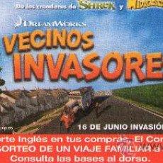 Cine: 952- FOLLETO DEL FILM: VECINOS INVASORES- (DIBUJOS ANIMADOS). Lote 25459859