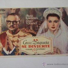 Cine: LA GRAN DUQUESA SE DIVIERTE (PAOLA BARBARA / SERGIO TOFANO). Lote 25606277