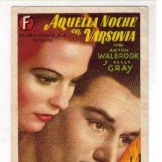 Cine: PROGRAMA DE CINE - AQUELLA NOCHE EN VARSOVIA - ANTON WALBROOK - AÑO 1.941 - CON PUBLICIDAD. Lote 27393355