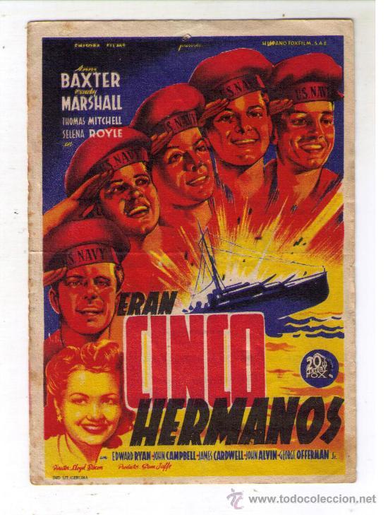PROGRAMA DE CINE - ERAN CINCO HERMANOS - ANNE BAXTER - AÑO 1944 - CON PUBLICIDAD (Cine - Folletos de Mano - Bélicas)