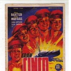 Cine: PROGRAMA DE CINE - ERAN CINCO HERMANOS - ANNE BAXTER - AÑO 1944 - CON PUBLICIDAD. Lote 26217149