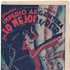 Cine: LO MEJOR ES REIR PROGRAMA DOBLE PARAMOUNT IMPERIO ARGENTINA D'ALGY ROSITA DIAZ GIMENO FLORIAN REY. Lote 26390323