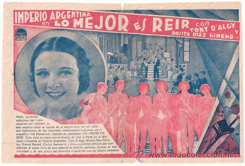 Cine: LO MEJOR ES REIR PROGRAMA DOBLE PARAMOUNT IMPERIO ARGENTINA DALGY ROSITA DIAZ GIMENO FLORIAN REY - Foto 2 - 26390323