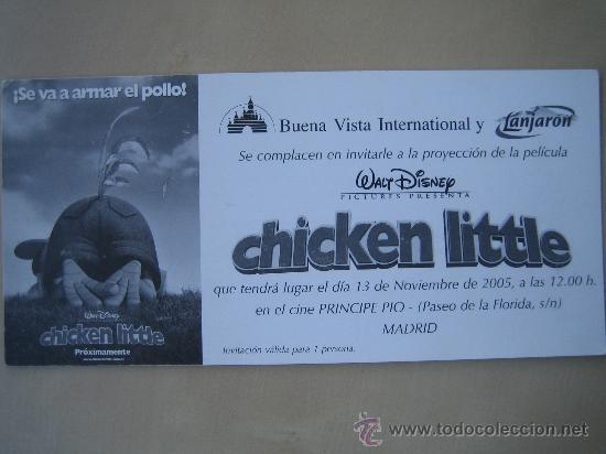 CHICKEN LITTLE DISNEY - FOLLETO DE MANO INVITACION AL PREESTRENO - PUBLICIDAD AGUA LANJARON (Cine - Folletos de Mano - Infantil)