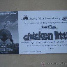 Cine: CHICKEN LITTLE DISNEY - FOLLETO DE MANO INVITACION AL PREESTRENO - PUBLICIDAD AGUA LANJARON. Lote 213657887
