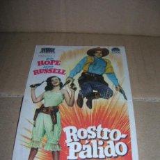 Cine: ROSTRO PALIDO, CON BOB HOPE Y JANE RUSSELL. CINE DE VERANO BANDA PRIMITIVA, LIRIA.. Lote 26885546