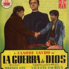 Cine: PROGRAMA CINE DOBLE - LA GUERRA DE DIOS - CLAUDE LAYDU - FRANCISCO RABAL - FERNANDO SANCHO . Lote 27297284